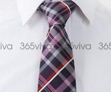 Pink Dark Purple Plaid Men Handmade 100% Woven Silk 8 cm nch Necktie Tie