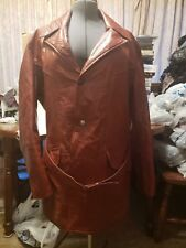 Vtg Euc Sears Leather Shop Brown Coat 44 Tall Lined Belt Usa 70s Pimp Fight Club