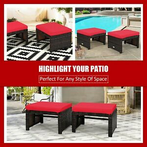 Costway 2PCS Patio Rattan Ottoman Cushioned Seat Foot Rest Furniture Turquoise
