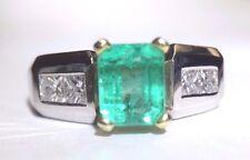 Lustrous! Blue Green Colombian Emerald Princess Diamond 14K Gold Ring Size 6