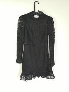 Fashion Union Black Lace Mini Dress Petite UK Size 8 Goth Skater Party