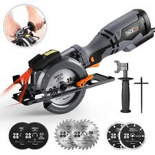 """Compact Circular Saw 4-3/4"""" 5.8A Tacklife Saw with Laser Guide 6 Blades"""