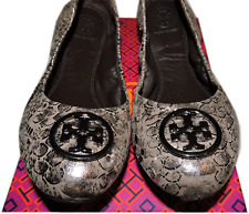 Tory Burch Heidi Ballet Flat Logo MINNIE Reva Lther Ballerina Shoe Metallic 8.5