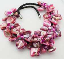 """freshwater pearl sea shell flower pink 18"""" necklace nature wholesale beads gift"""