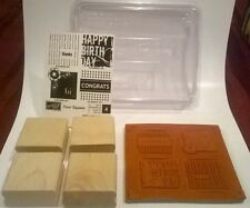 Stampin Up Rubber Stamps Four Square Happy Birthday Congrats Thanks Hi Set of 4