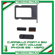 ALLOGGIO PORTA SIM CARD TRAY SCHEDA + KIT TASTI POWER VOLUME per IPHONE 5S NERO