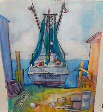 "JANET ADKINS ""MISS MIRIAM"" FISHING BOAT OCRACOKE N.C. WATERCOLOR PAINTING"