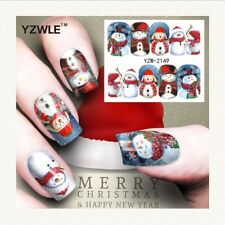 Nail Art Water Decals Stickers Christmas Blue Red Snowman Snow (A149)