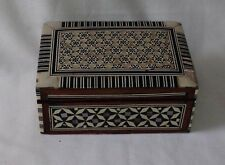 Beautiful Wooden Jewellery Box With Pearl Mosaic- Lovely Condition