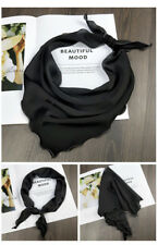 Hand Rolled Triangle Scarf Women Solid Kerchief Headband Hair Bag Scarf L85cm
