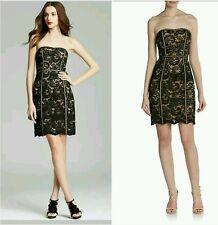 $245 Aidan Mattox Black Lace Strapless Party Cocktail Illusion Dress ~ 6 M3020