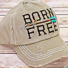 Born Free, Khaki  Distressed Women's Cap / Hat -  NWT, Adjustable