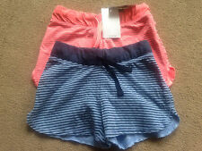 BNWT NEXT Girls 2 Pack Blue Coral Stripe Shorts 3 Years