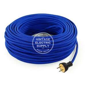 Blue Cordset - Cloth Covered Round Rewire Set - Antique Lamp & Fan Cord