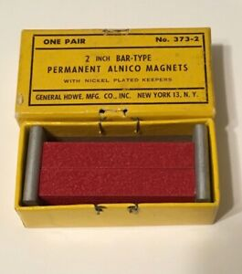 """Vintage Permanent Alnico Magnets 2"""" Bar Type Made in England Pair Original Box"""