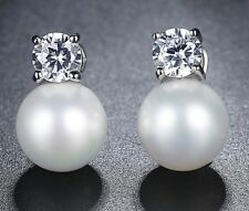 Elegant Faux Pearl & Crystal Earrings - White Gold Plated - New in Gift Box
