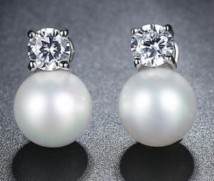 Simulated Pearl & Crystal Stud Earrings - New in Gift Box