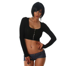 Sexy Damen  Top Shirt Pulli Basic Bolero Bauchfrei Knöpfe Schwarz   Größe 38