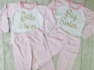 FAMILY MATCHING SISTER PYJAMAS, Gold Glitter Big Little Sisters Pink White PJs