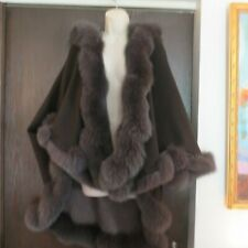 Women's Hooded Cashmere Cape with Fox Fur trim