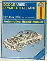 Haynes Dodge Aries & Plymouth Reliant 1981-1989 Automotive Repair Manual  #723