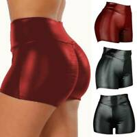 SexyWomen Wet-Look Stretch Shorts Faux Leather Skinny Hot Pants Push Up Clubwear