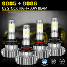 4PCS 9005 9006 LED Total 2400W Combo Headlight Kit Bulbs 6000K White Hi-Lo Beam