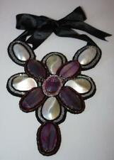 BEAUTIFUL UNIQUE HANDMADE BEADS FASHION BIB NECKLACE Mother of Pearl/Agate!