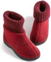 Zigzagger Women's Memory Foam Bootie Slippers, Cozy, Style 1 - Wine, Size 9.0 mO