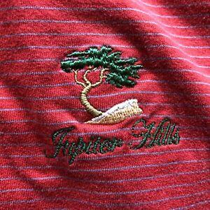 Peter Millar Jupiter Hills L Red Striped Polo Golf Shirt