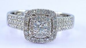 1.15 ct DIAMOND  halo solitaire engagement ring 14k white gold (VIDEO)