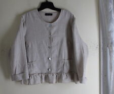 Eva Tralala OS S M L French Linen Natural Romantic Paris 3/4 Ruffled Jacket Top