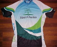 V-Gear Women Cut Metro Charities 3/4 Zipper Blue White Green Cycling Jersey 3XL