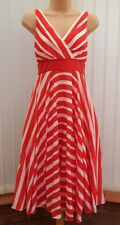 MONSOON MENA ORIANE RED WHITE STRIPE SILK MIX 50'S DRESS 12 TWICE £135