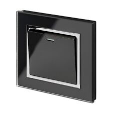 RetroTouch 1 Gang 10 Amp Rocker On/Off Light Switch Black Glass CT 00201