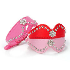 Bling Rhinestone Flower Leather Small Pet Dog Cat Puppy Collar Hot Pink Red Pink