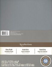 "New Recollections 8.5x11"" Cardstock Paper Grey Gray Kraft 50 Sheets"