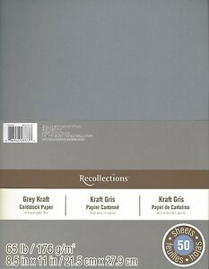 """New Recollections 8.5x11"""" Cardstock Paper Gray Grey Kraft 50 Sheets"""