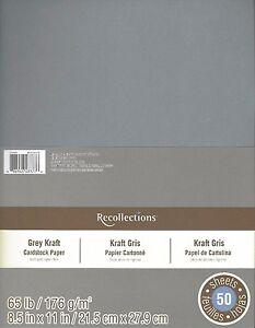 "Grey Kraft Gray Recollections 8.5x11"" Cardstock Scrapbook Paper New 50 Sheets"