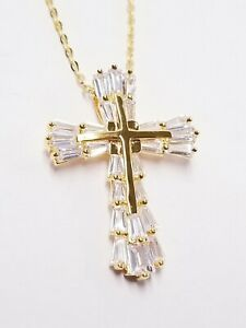 OBP149B White Cubic Zirconia 18K Yellow Gold Over Sterling Silver Cross Necklace