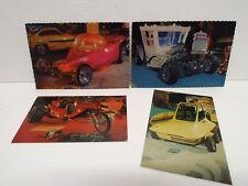 "MOVIE WORLD ""ED ROTH"" BIG DADDY HOT ROD CARS OF THE STARS POSTCARDS X 4  (RF25)"