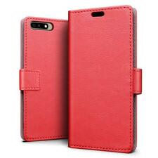 SLEO Luxury Slim PU Leather Magnetic Wallet Cover Case for Huawei Y6 2018 Red