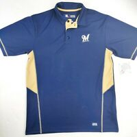 Milwaukee Brewers Navy TX3 Cool Polo Shirt Medium Authentic MLB Baseball Spring