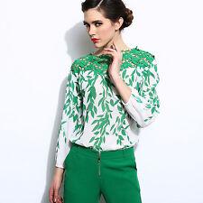 Women Long Sleeve Chiffon Shirt Summer Hollow Blouse Elegant Green Casual Tops