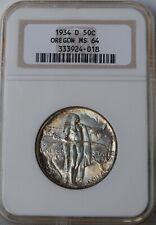 "1934-D Oregon Trail Commemorative Half Dollar ""NGC MS64"" *Free S/HAfter 1stItem*"