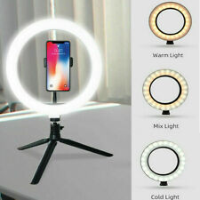 """Dimmable 10"""" LED Ring Light With Stand Desk Makeup Selfie Lighting Youtube Live"""