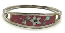 Vintage Sterling Silver Floral Mother of Pearl Inlay Red Enamel Bangle Bracelet