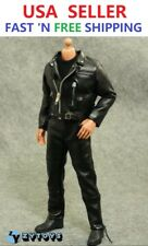 """1/6 T-800 Arnold Leather Motorcycle Jacket Set For 12"""" Hot Toys Figure"""