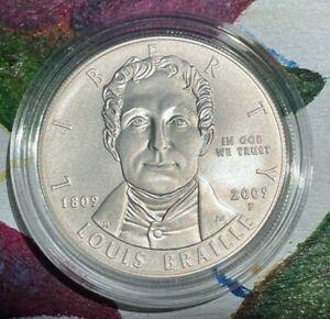 2009 P Louis Braille Commemorative 90% Silver Dollar US Coin *OMP* w/FREESHIP