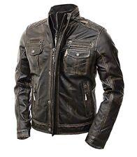 Abbraci Mens Motorcycle Jacket Slim Fit Distressed Cafe Racer Brown Leather
